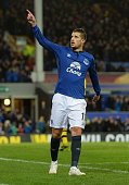 Kevin Mirallas of Everton celebrates scoring their third goal during the UEFA Europa League Round of 32 match between Everton FC and BSC Young Boys...