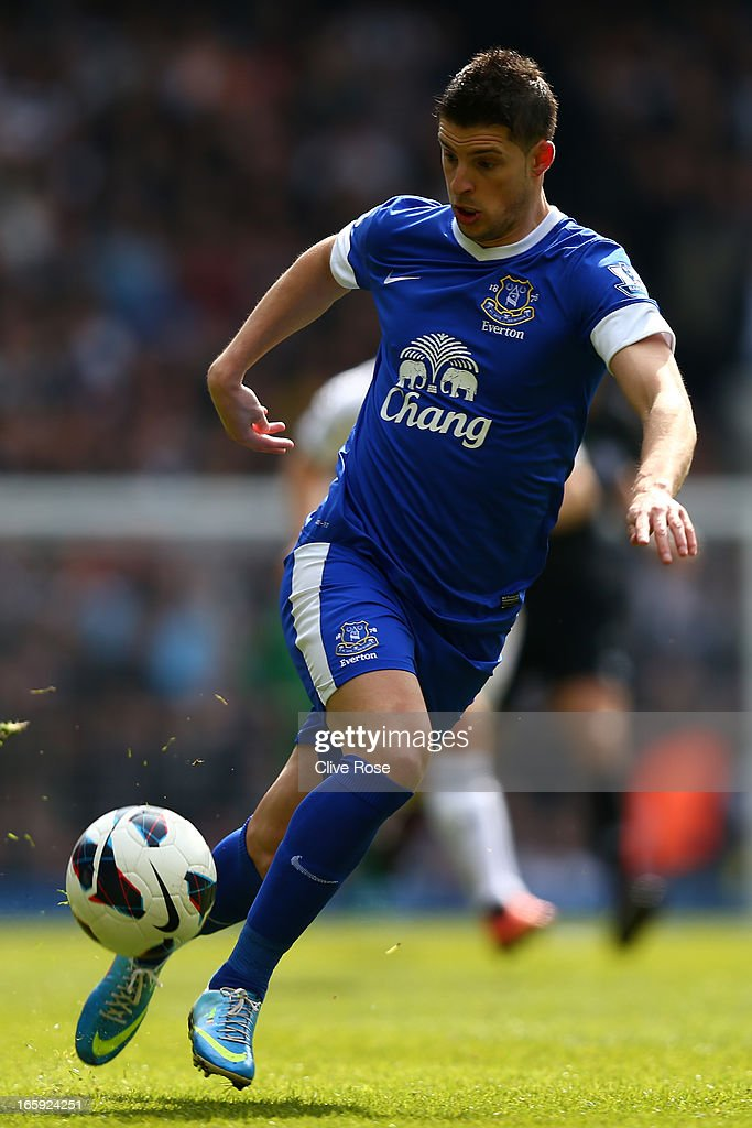 Kevin Mirallas of Everton contorls the ball during the Barclays Premier League match between Tottenham Hotspur and Everton at White Hart Lane on April 7, 2013 in London, England.