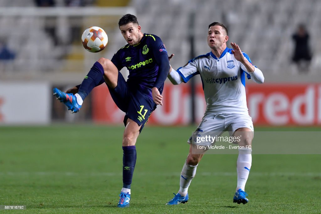 Kevin Mirallas of Everton controls the ball during the UEFA Europa League Group E match between Apollon Limassol and Everton at GSP Stadium on December 7, 2017 in Nicosia, Cyprus.