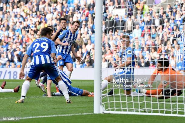 Kevin Mirallas of Everton has a last minute chance on goal saved by Brighton goalkeeper Matthew Ryan during the Premier League match between Brighton...