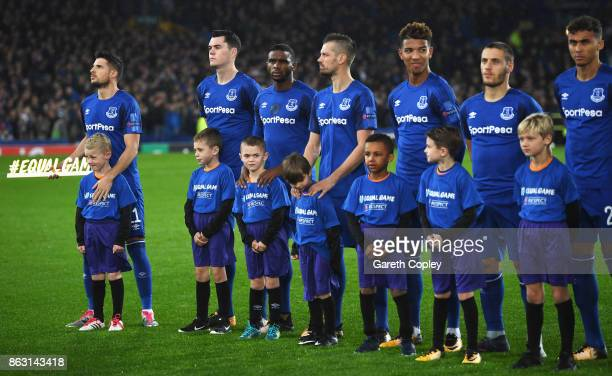 Kevin Mirallas of Everton holds the #equalgame banner alongside team mates prior to the UEFA Europa League Group E match between Everton FC and...