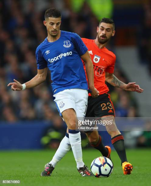 Kevin Mirallas of Everton in action with Erik Daniel of MFK Ruzomberok during the UEFA Europa League Third Qualifying Round First Leg match between...