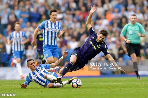 Kevin Mirallas of Everton is fouled by Anthony Knockaert during the Premier League match between Brighton and Hove Albion and Everton at Amex Stadium...