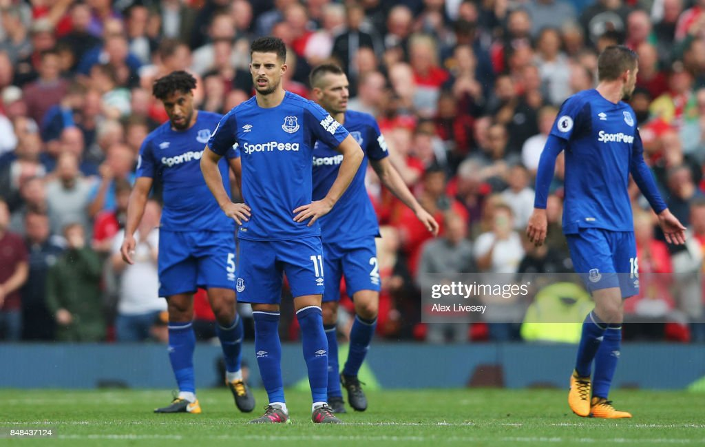 Kevin Mirallas of Everton looks dejected during the Premier League match between Manchester United and Everton at Old Trafford on September 17, 2017 in Manchester, England.