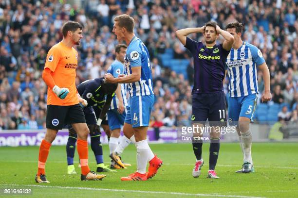 Kevin Mirallas of Everton reacts after a missed opportunity late in the Premier League match between Brighton and Hove Albion and Everton at Amex...