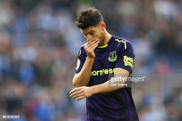 Kevin Mirallas of Everton reacts after the Premier League match between Brighton and Hove Albion and Everton at Amex Stadium on October 15 2017 in...