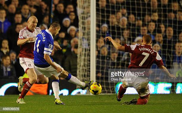 Kevin Mirallas of Everton scores his team's fourth goal during the Barclays Premier League match between Everton and Fulham at Goodison Park on...