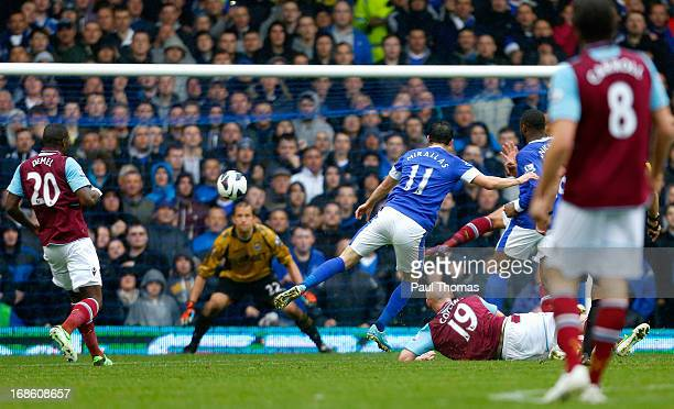 Kevin Mirallas of Everton scores his team's second goal during the Barclays Premier League match between Everton and West Ham United at Goodison Park...