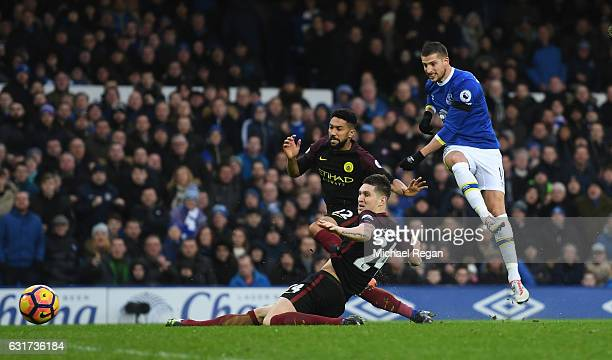 Kevin Mirallas of Everton scores his team's second goal during the Premier League match between Everton and Manchester City at Goodison Park on...