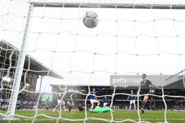 Kevin Mirallas of Everton scores their first goal during the Premier League match between Everton and West Bromwich Albion at Goodison Park on March...
