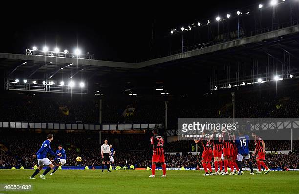 Kevin Mirallas of Everton scores their second goal from a free kick during the Barclays Premier League match between Everton and Queens Park Rangers...