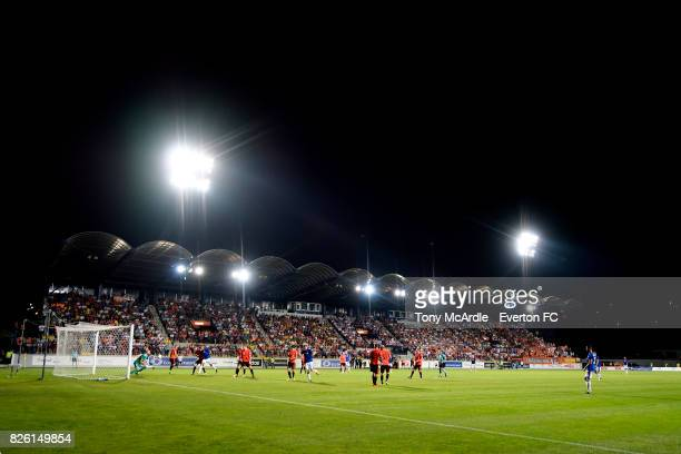 Kevin Mirallas of Everton takes a free kick during UEFA Europa League Qualifier match between MFK Ruzomberok and Everton on August 3 2017 in...