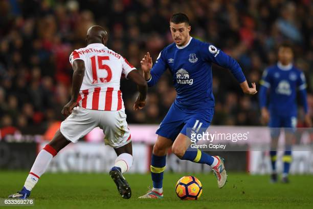 Kevin Mirallas of Everton takes on Bruno Martins Indi of Stoke City during the Premier League match between Stoke City and Everton at Bet365 Stadium...