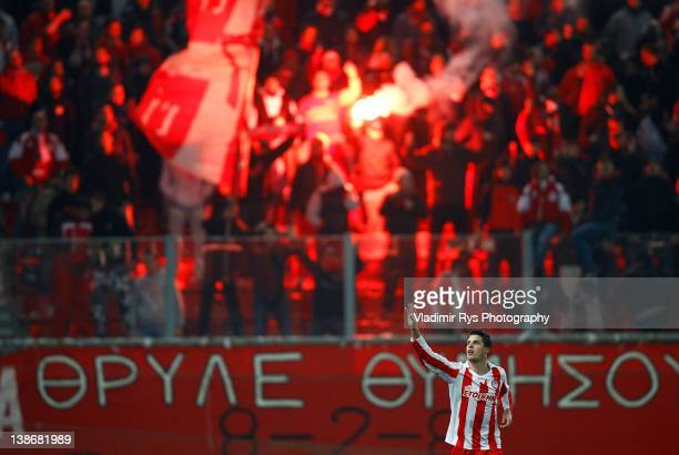 Kevin Mirallas of Olympiacos celebrates after scoring his team's second goal during the Superleague match between Olympiacos Piraeus and AEK Athens...