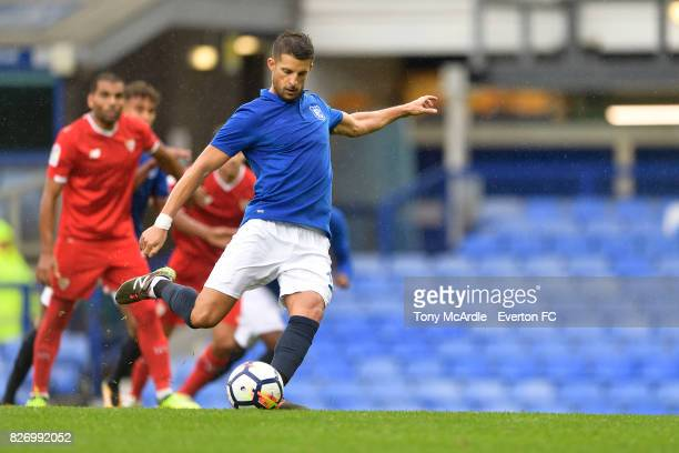 Kevin Mirallas shoots to score a penalty during the Pre Season Friendly match between Everton and Sevilla at Goodison Park on August 6 2017 in...