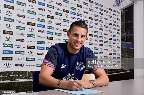Kevin Mirallas signs a new contract at Everton at Finch Farm on August 7 2015 in Liverpool England