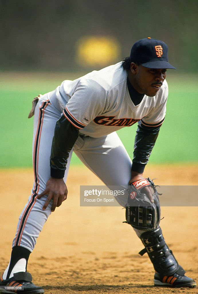 Kevin Mitchell #7 of the San Francisco Giants looks on from his position at third base against the Chicago Cubs during an Major League Baseball game circa 1989 at Wrigley Field in Chicago,Illinois. Mitchell played for the Giants from 1987-91.