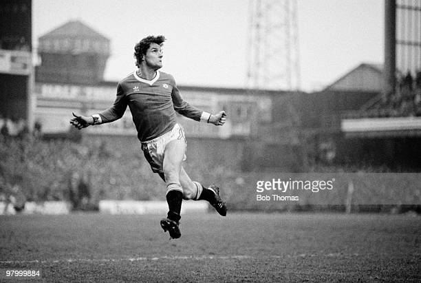 Kevin Moran of Manchester United during the FA Cup 5th Round match against Derby County held at The Baseball Ground Derby on 19th February 1983...