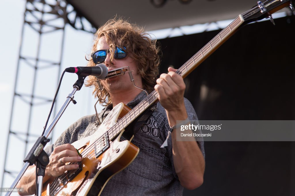 Kevin Morby of Woods performs on stage on Day 1 of Pitchfork Music Festival 2013 at Union Park on July 19, 2013 in Chicago, Illinois.