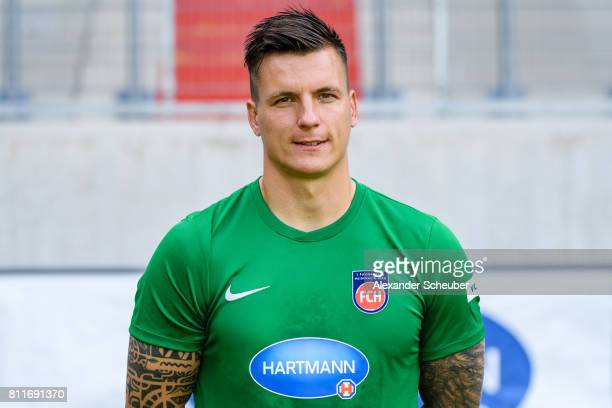 Kevin Mueller of 1 FC Heidenheim poses during the team presentation at Voith Arena on July 8 2017 in Heidenheim Germany