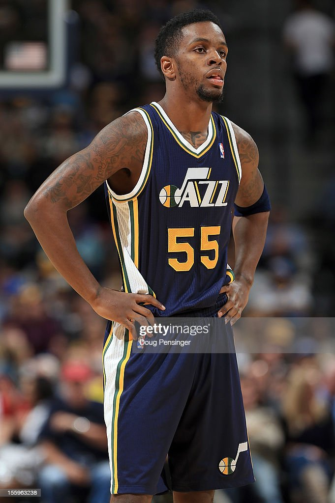 Kevin Murphy #55 of the Utah Jazz looks on against the Denver Nuggets at the Pepsi Center on November 9, 2012 in Denver, Colorado. The Nuggets defeated the Jazz 104-84.