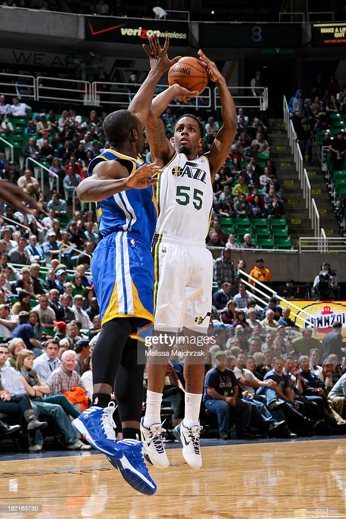Kevin Murphy #55 of the Utah Jazz shoots against the Golden State Warriors at Energy Solutions Arena on February 19, 2013 in Salt Lake City, Utah.