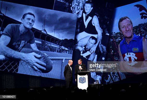 Kevin Murray is interviewed by Tim Lane after he was made an Legend of the AFL Hall of Fame at the 2010 Australian Football Hall of Fame induction...