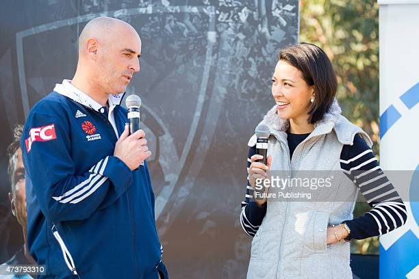 Kevin Muscat and Tara Rushton seen during Fans Day before Melbourne Victory takes on Sydney FC in the season decider ALeague Grand Final on May 16...