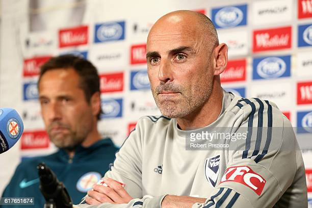 Kevin Muscat coach of Melbourne Victory speaks during the FFA Cup Semi Final Press Conference at AAMI Park on October 24 2016 in Melbourne Australia
