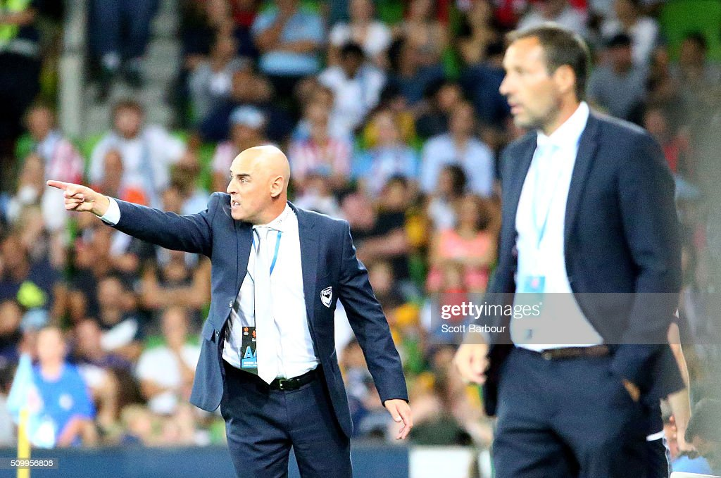 <a gi-track='captionPersonalityLinkClicked' href=/galleries/search?phrase=Kevin+Muscat&family=editorial&specificpeople=242953 ng-click='$event.stopPropagation()'>Kevin Muscat</a> (L), coach of the Victory and John van 't Schip, coach of City FC look on during the round 19 A-League match between Melbourne City FC and Melbourne Victory at AAMI Park on February 13, 2016 in Melbourne, Australia.
