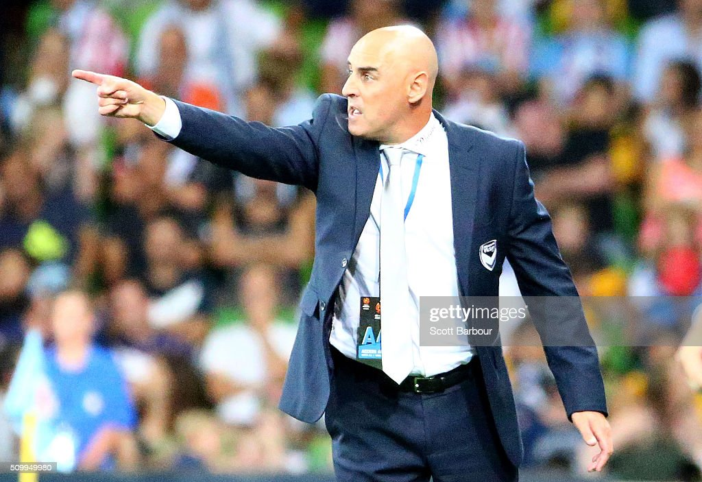 Kevin Muscat, coach of the Victory gestures during the round 19 A-League match between Melbourne City FC and Melbourne Victory at AAMI Park on February 13, 2016 in Melbourne, Australia.