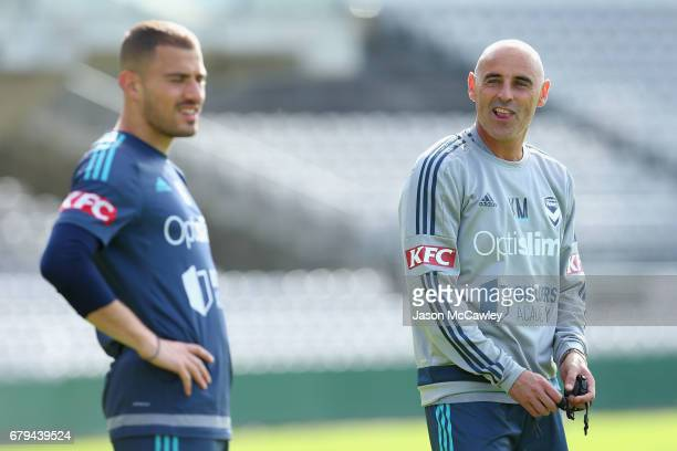 Kevin Muscat head coach of the Victory looks on during a Melbourne Victory ALeague training session at WIN Jubilee Stadium on May 6 2017 in Sydney...