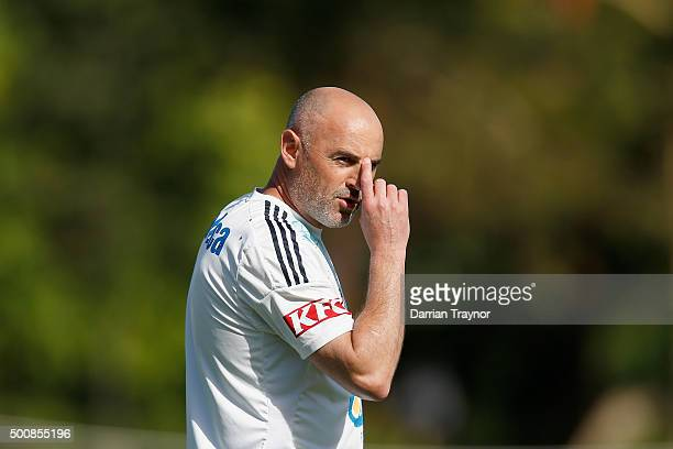 Kevin Muscat looks on during a Melbourne Victory ALeague training session at Gosch's Paddock on December 11 2015 in Melbourne Australia