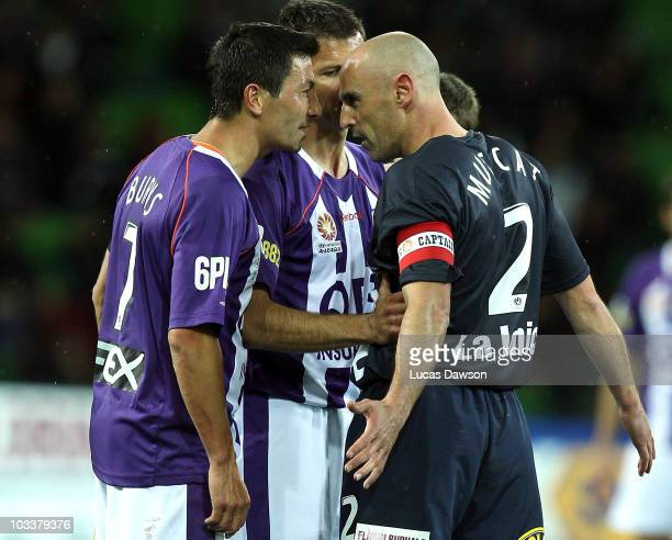Kevin Muscat of the Victory and Jacob Burns of the Glory argue during the round two ALeague match between the Melbourne Victory and the Perth Glory...
