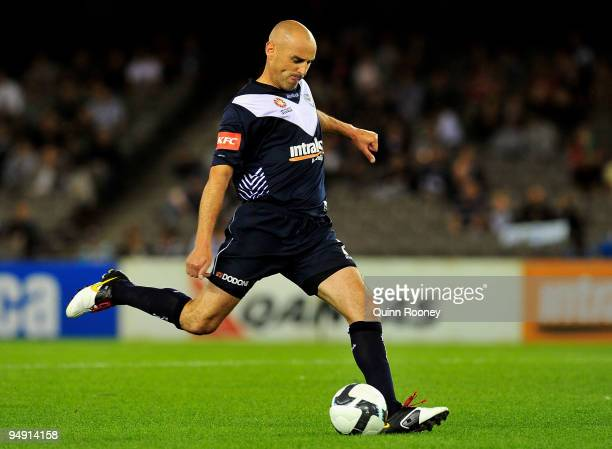 Kevin Muscat of the Victory kicks the ball during the round 20 ALeague match between the Melbourne Victory and Sydney FC at Etihad Stadium on...