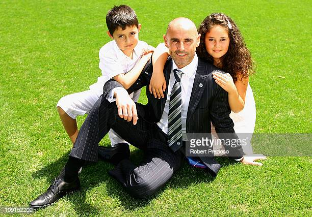 Kevin Muscat poses with his children James and Olivia after announcing his retirement after a Melbourne Victory ALeague training session at Gosch's...