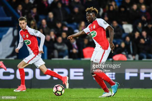 Kevin N Doram of Monaco and Dylan Beaulieu of Monaco during the Semi final of the French Cup match between Paris SaintGermain and As Monaco at Parc...
