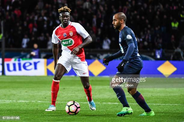 Kevin N doram of Monaco and Lucas Moura of PSG during the Semi final of the French Cup match between Paris SaintGermain and As Monaco at Parc des...