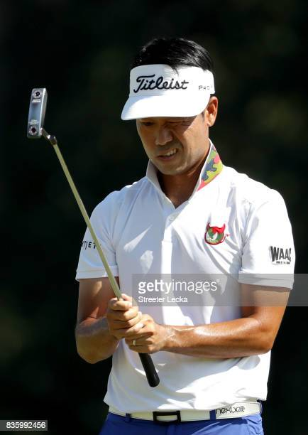 Kevin Na lines up a putt on the 9th hole during the final round of the Wyndham Championship at Sedgefield Country Club on August 20 2017 in...