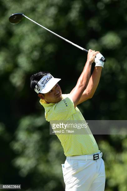 Kevin Na plays his tee shot on the fifth hole during the third round of the Wyndham Championship at Sedgefield Country Club on August 19 2017 in...