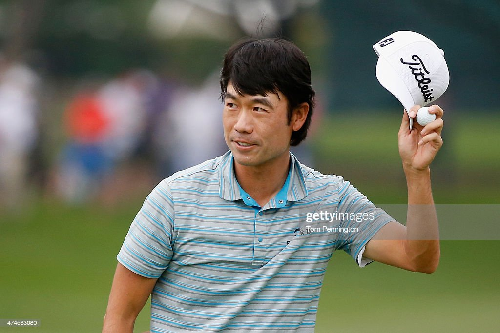 <a gi-track='captionPersonalityLinkClicked' href=/galleries/search?phrase=Kevin+Na&family=editorial&specificpeople=235605 ng-click='$event.stopPropagation()'>Kevin Na</a> reacts after the 18th tee during the third round of the Crowne Plaza Invitational at the Colonial Country Club on May 23, 2015 in Fort Worth, Texas.