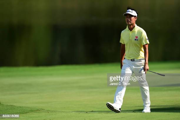 Kevin Na walks up to the 15th green during the third round of the Wyndham Championship at Sedgefield Country Club on August 19 2017 in Greensboro...