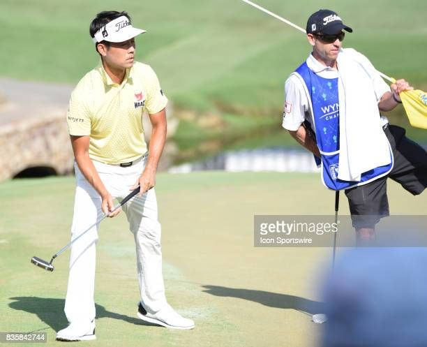 Kevin Na watches his ball break away from the 15th hole during the third round of the Wyndham Championship on August 19 2017 at Sedgefield Country...