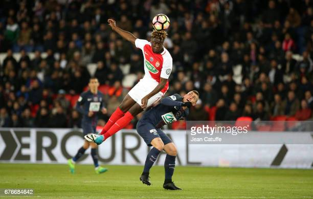 Kevin N'Doram of Monaco and Marco Verratti of PSG in action during the French Cup semifinal match between Paris SaintGermain and AS Monaco at Parc...