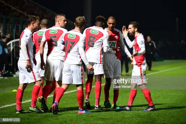 Kevin Ndoram of Monaco celebrates with teammates after he puts his side 43 ahead in extra time during the French National Cup match between Chambly...