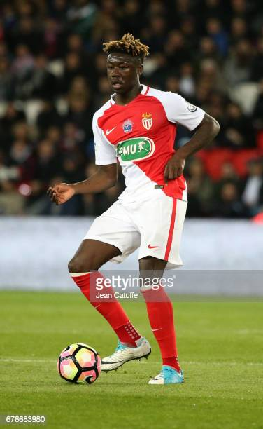 Kevin N'Doram of Monaco in action during the French Cup semifinal match between Paris SaintGermain and AS Monaco at Parc des Princes stadium on April...
