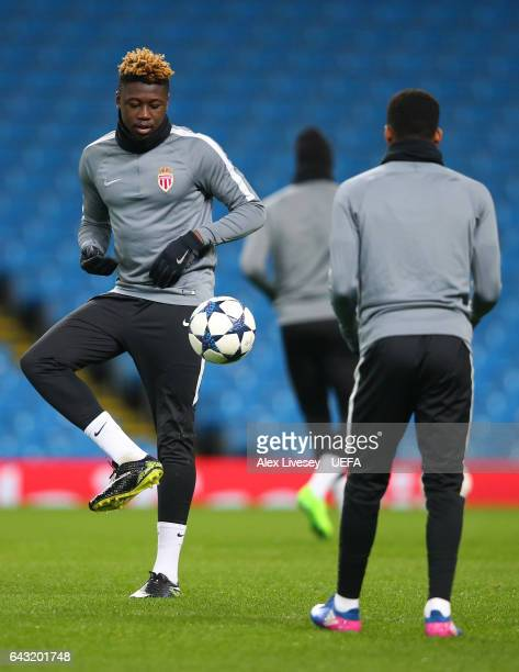 Kevin Ndoram of Monaco warms up during a Monaco Training Session and Press Conference ahead of their UEFA Champions League Round of 16 match against...