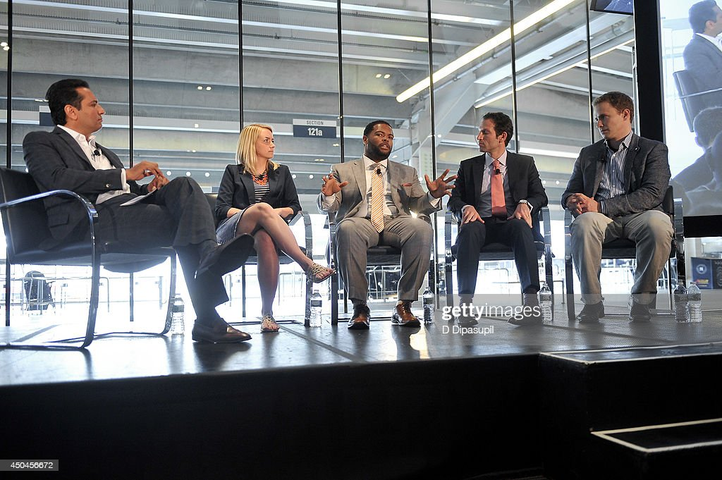 Kevin Negandhi, Corinne Eckert, Gemar Mills, Adam Grossman, and Marc Kielburger participate in a panel discussion during Beyond Sport United - Workshops & Panels at Yankee Stadium on June 11, 2014 in the Bronx borough of New York City.