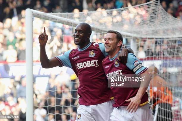 Kevin Nolan celebrates his goal with Carlton Cole of West Ham United during their npower Championship match between West Ham United and Doncaster...