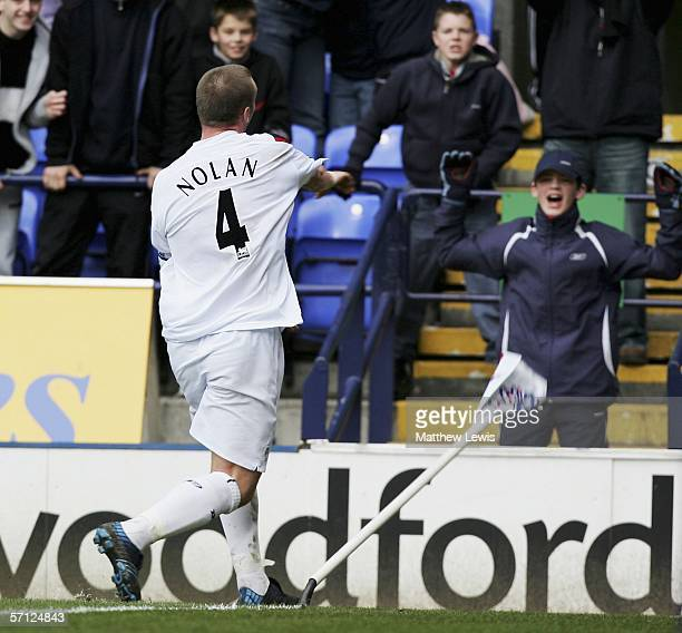 Kevin Nolan of Bolton celebrates his goal during the Barclays Premiership match between Bolton Wanderers and Sunderland at the Reebok Stadium on...